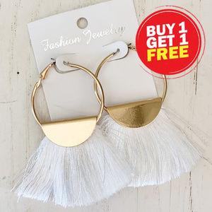 BOGO! Gold Circle White Tassel Earrings
